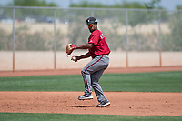 Arizona Diamondbacks third baseman Eddie Hernandez (14) prepares to make a throw to first base during an Extended Spring Training game against the Cleveland Indians at the Cleveland Indians Training Complex on May 27, 2018 in Goodyear, Arizona. (Zachary Lucy/Four Seam Images)