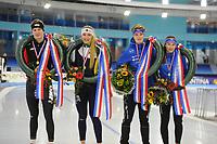 SCHAATSEN: HEERENVEEN: IJsstadion Thialf, NK Junioren Sprint en Allround, Daan Baks, Jutta Leerdam, Jur Veenje, Femke Kok, ©foto Martin de Jong