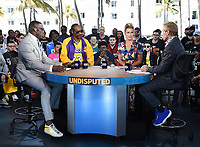 "MIAMI BEACH, FL - JANUARY 29: Shannon Sharpe, Snoop Dogg, Jenny Taft, and Skip Bayless on the set of ""Skip & Shannon: Undisputed"" on the Fox Sports South Beach studio during Super Bowl LIV week on January 29, 2020 in Miami Beach, Florida. (Photo by Frank Micelotta/Fox Sports/PictureGroup)"