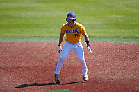 Bryson Worrell (35) of the East Carolina Pirates takes his lead off of second base against the Charlotte 49ers at Hayes Stadium on March 8, 2020 in Charlotte, North Carolina. The Pirates defeated the 49ers 4-1. (Brian Westerholt/Four Seam Images)