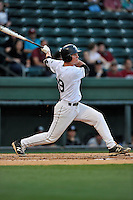 Right fielder Jaden Savage (19) of the USC Upstate Spartans bats in a game against the South Carolina Gamecocks on Tuesday, March 15, 2016, at Fluor Field at the West End in Greenville, South Carolina. (Tom Priddy/Four Seam Images)