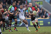 20130309 Copyright onEdition 2013©.Free for editorial use image, please credit: onEdition..Ross Chisholm of Harlequins accelerates upfield during the LV= Cup semi final match between Harlequins and Bath Rugby at The Twickenham Stoop on Saturday 9th March 2013 (Photo by Rob Munro)..For press contacts contact: Sam Feasey at brandRapport on M: +44 (0)7717 757114 E: SFeasey@brand-rapport.com..If you require a higher resolution image or you have any other onEdition photographic enquiries, please contact onEdition on 0845 900 2 900 or email info@onEdition.com.This image is copyright onEdition 2013©..This image has been supplied by onEdition and must be credited onEdition. The author is asserting his full Moral rights in relation to the publication of this image. Rights for onward transmission of any image or file is not granted or implied. Changing or deleting Copyright information is illegal as specified in the Copyright, Design and Patents Act 1988. If you are in any way unsure of your right to publish this image please contact onEdition on 0845 900 2 900 or email info@onEdition.com