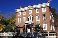 mansion, Providence, Rhode Island, RI, John Brown House Museum, a three-story Georgian-style house, in Providence in the fall.