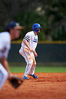 South Dakota State Jackrabbits catcher Derek Hackman (9) leads off during a game against the FIU Panthers on February 23, 2019 at North Charlotte Regional Park in Port Charlotte, Florida.  South Dakota State defeated FIU 4-3.  (Mike Janes/Four Seam Images)