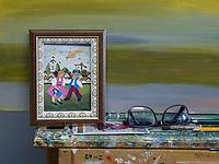 Slowakische Minderheit, naive Malerin Zuzana Veresky in Kovacica, Vojvodina, Serbien, Europa<br /> Slowakian minority, naive painter Zuzana Veresky, Kovacica,, Vojvodina, Serbia, Europe