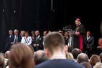L'archevêque de Rouen Dominique Lebrun - La ville de Saint-Etienne du Rouvray a organisé au parc omnisport Youri Gagarine une cérémonie en hommage au père Jacques Hamel, assassine dans son eglise par deux djihadistes.