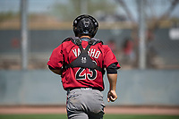 Arizona Diamondbacks catcher Daulton Varsho (23) during a Minor League Spring Training game against the San Francisco Giants at Salt River Fields at Talking Stick on March 28, 2018 in Scottsdale, Arizona. (Zachary Lucy/Four Seam Images)