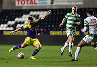 Thursday, 16 April 2014<br /> Pictured: Kyle Copp of Swansea (L) scoring his goal.<br /> Re: FAW Youth Cup Final, Swansea City FC v The New Saints FC at the Liberty Stadium, south Wales,