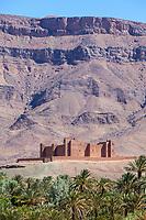 Draa River Valley Scene, Morocco.  Ksar (Kasbah) Tamnougalt, near Agdz.