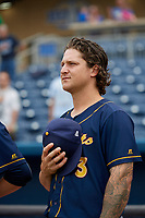 Montgomery Biscuits Robbie Tenerowicz (3) during the national anthem before a Southern League game against the Biloxi Shuckers on May 8, 2019 at MGM Park in Biloxi, Mississippi.  Biloxi defeated Montgomery 4-2.  (Mike Janes/Four Seam Images)