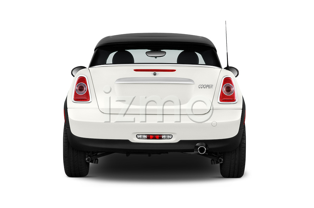 Straight rear view of a 2015 MINI Mini Cooper 2 Door Coupe Rear View  stock images