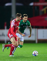 Lincoln City's Adam Jackson battles with Accrington Stanley's Matt Butcher<br /> <br /> Photographer Andrew Vaughan/CameraSport<br /> <br /> The EFL Sky Bet League One - Accrington Stanley v Lincoln City - Saturday 21st November 2020 - Crown Ground - Accrington<br /> <br /> World Copyright © 2020 CameraSport. All rights reserved. 43 Linden Ave. Countesthorpe. Leicester. England. LE8 5PG - Tel: +44 (0) 116 277 4147 - admin@camerasport.com - www.camerasport.com