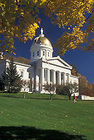 AJ4533, State House, State Capitol, Montpelier, Vermont, The majestic State House sits on the lush green lawn in the capital city of Montpelier framed with colorful maple leaves in autumn in the state of Vermont.