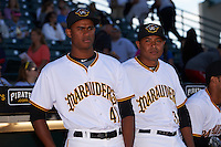 Bradenton Marauders pitchers Edgar Santana (41) and Miguel Rosario (38) before a game against the Fort Myers Miracle on April 9, 2016 at McKechnie Field in Bradenton, Florida.  Fort Myers defeated Bradenton 5-1.  (Mike Janes/Four Seam Images)