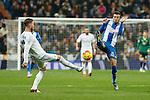 Real Madrid´s Sergio Ramos (L) and Espanyol´s Jordan during 2015/16 La Liga match between Real Madrid and Espanyol at Santiago Bernabeu stadium in Madrid, Spain. January 31, 2016. (ALTERPHOTOS/Victor Blanco)