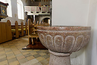 Taufstein aus Gotland in der romanischen Peders Kirke 12.Jh. bei Pedersker auf der Insel Bornholm, Dänemark, Europa<br /> baptismal font from Gotland in Peders Kirke (12.c.) near Pedersker, Isle of Bornholm Denmark