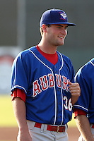 Auburn Doubledays pitcher Brian Dupra #36 before a game against the Batavia Muckdogs at Dwyer Stadium on June 17, 2011 in Batavia, New York.  Auburn defeated Batavia in the season opener 6-1.  (Mike Janes/Four Seam Images)