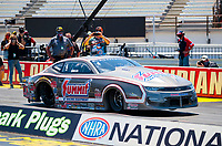 Jul 12, 2020; Clermont, Indiana, USA; NHRA pro stock driver Jason Line during the E3 Spark Plugs Nationals at Lucas Oil Raceway. This is the first race back for NHRA since the start of the COVID-19 global pandemic. Mandatory Credit: Mark J. Rebilas-USA TODAY Sports