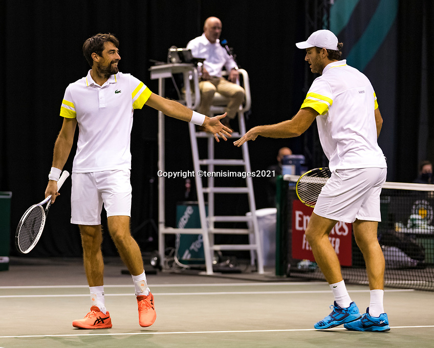 Rotterdam, The Netherlands, 3 march  2021, ABNAMRO World Tennis Tournament, Ahoy, First round doubles: Jeremy Chardy (FRA) / Fabrice Martin (FRA).<br /> Photo: www.tennisimages.com/henkkoster