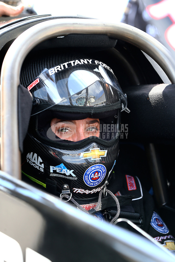 Mar 15, 2015; Gainesville, FL, USA; NHRA top fuel driver Brittany Force during the Gatornationals at Auto Plus Raceway at Gainesville. Mandatory Credit: Mark J. Rebilas-