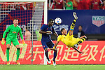 Borussia Dortmund striker Pierre-Emerick Aubameyang (r) attempts a bicycle kick while being defended by Manchester United defender Eric Bailly (l) during the International Champions Cup China 2016, match between Manchester United vs Borussia  Dortmund on 22 July 2016 held at the Shanghai Stadium in Shanghai, China. Photo by Marcio Machado / Power Sport Images
