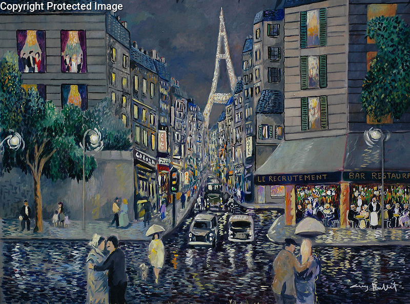 """""""Paris; Rainy Day Rue Saint Dominique""""<br /> Limited Edition Giclee<br /> SN 20x26.5 Canvas $950<br /> SN  on Paper with Original Watercolor Remarque $1,550<br /> AP 30x40 Canvas $1,850<br /> <br /> A beautiful scene in the rain, this is the corner where Guy kept an apartment in Paris for 25 years!"""