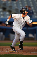Connecticut Tigers outfielder Tanner Donnels (22) runs to first during the first game of a doubleheader against the Brooklyn Cyclones on September 2, 2015 at Senator Thomas J. Dodd Memorial Stadium in Norwich, Connecticut.  Brooklyn defeated Connecticut 7-1.  (Mike Janes/Four Seam Images)