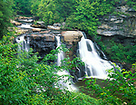 Blackwater Falls State Park, WV<br /> Summer foliage frames the Blackwater Falls on the Blackwater River; near the town of Davis, West Virginia