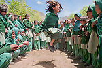 May 24, 2011. Gupis Valley schools in the Ghizer District of Pakistan.   Girls play jump rope during recess at Teru High School.  CAI added a five-classroom high school building in 2010 to an existing community middle school.  There's also an Agha Khan primary school within the boundary wall.  Photo by Ellen Jaskol.