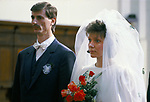 Riga Latvia 1980s A Baltic State country part of the USSR. A young couple in the Cathedral  being married. 1989