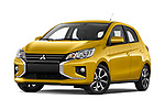 Stock pictures of low aggressive front three quarter view of 2020 Mitsubishi Space-Star Diamond-Edition 5 Door Hatchback Low Aggressive