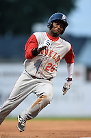 Brooklyn Cyclones outfielder John Mora (26) running the bases during a game against the Batavia Muckdogs on August 11, 2014 at Dwyer Stadium in Batavia, New York.  Batavia defeated Brooklyn 4-3.  (Mike Janes/Four Seam Images)