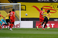 Tom Dele-Bashiru (24) of Watford (right) shoots during the Sky Bet Championship match between Watford and Luton Town at Vicarage Road, Watford, England on 26 September 2020. Photo by David Horn.