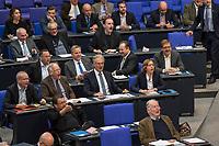 """30. Sitzung des Deutschen Bundestag am Freitag den 27. April 2018.<br /> Auf Antrag der rechtsnationalistischen """"Alternative fuer Deutschland"""", AfD, musste das Parlament ueber den Entwurf eines Gesetzes zur Aenderung Paragraph 130 des Strafgesetzbuchs (Volksverhetzung) diskutieren. Abgeordnete aller Fraktionen, ausser der Rechtsnationalisten, wiesen dies als Schritt zur Abschaffung des Paragraphen zurueck. <br /> Im Bild: Die Abgeordneten der AfD empoeren sich lautstark.<br /> 27.4.2018, Berlin<br /> Copyright: Christian-Ditsch.de<br /> [Inhaltsveraendernde Manipulation des Fotos nur nach ausdruecklicher Genehmigung des Fotografen. Vereinbarungen ueber Abtretung von Persoenlichkeitsrechten/Model Release der abgebildeten Person/Personen liegen nicht vor. NO MODEL RELEASE! Nur fuer Redaktionelle Zwecke. Don't publish without copyright Christian-Ditsch.de, Veroeffentlichung nur mit Fotografennennung, sowie gegen Honorar, MwSt. und Beleg. Konto: I N G - D i B a, IBAN DE58500105175400192269, BIC INGDDEFFXXX, Kontakt: post@christian-ditsch.de<br /> Bei der Bearbeitung der Dateiinformationen darf die Urheberkennzeichnung in den EXIF- und  IPTC-Daten nicht entfernt werden, diese sind in digitalen Medien nach §95c UrhG rechtlich geschuetzt. Der Urhebervermerk wird gemaess §13 UrhG verlangt.]"""