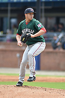 Greenville Drive pitcher Jonathan Aro #37 delivers a pitch during a game against the  Asheville Tourists at McCormick Field on May 18, 2014 in Asheville, North Carolina. The Tourists defeated the Drive 3-1. (Tony Farlow/Four Seam Images)