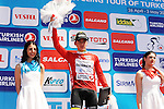 Juan Pablo Valencia (COL) Team Colombia retains the Mountains Red Jersey at the end of Stage 5 of the 2015 Presidential Tour of Turkey running 159.9km from Mugla to Pamukkale. 30th April 2015.<br /> Photo: Tour of Turkey/Mario Stiehl/www.newsfile.ie