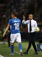 Football: Uefa European under 21 Championship 2019, Italy - Spain Renato Dall'Ara stadium Bologna Italy on June16, 2019.<br /> Italy's under 21 national team coach Luigi Di Biagio (r) speaks to his players during the Uefa European under 21 Championship 2019 football match between Italy and Spain at Renato Dall'Ara stadium in Bologna, Italy on June16, 2019.<br /> UPDATE IMAGES PRESS/Isabella Bonotto