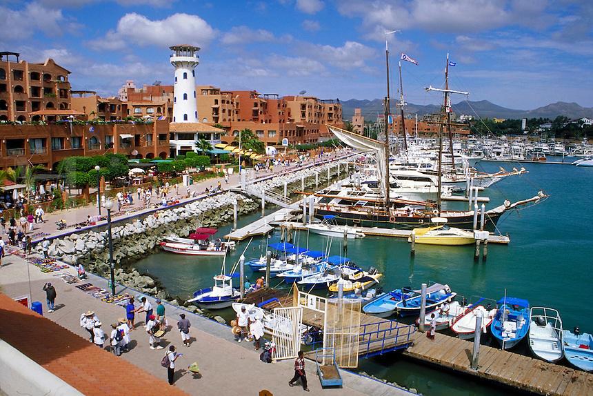 Marina and shopping areas at Cabo San Lucas, Baja, Mexico.