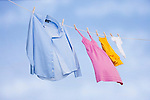 USA, Illinois, Metamora, clothing in various sizes drying on clothesline