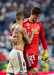 Goalkeeper Thibaut Courtois and Sergio Ramos of Real Madrid celebrate after the La Liga 2018-19 match between Real Madrid and CD Leganes at Estadio Santiago Bernabeu on September 01 2018 in Madrid, Spain. Photo by Diego Souto / Power Sport Images
