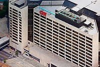 aerial photograph of the CNN Center Cable Network News corporate headquarters Atlanta, Georgia