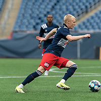 FOXBOROUGH, UNITED STATES - MAY 28: Connor Presley #7 of New England Revolution II brings the ball forward during a game between Fort Lauderdale CF and New England Revolution II at Gillette Stadium on May 28, 2021 in Foxborough, Massachusetts.
