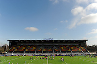 20130303 Copyright onEdition 2013©.Free for editorial use image, please credit: onEdition..General view of the new East Stand before the Premiership Rugby match between Saracens and London Welsh at Allianz Park on Sunday 3rd March 2013 (Photo by Rob Munro)..For press contacts contact: Sam Feasey at brandRapport on M: +44 (0)7717 757114 E: SFeasey@brand-rapport.com..If you require a higher resolution image or you have any other onEdition photographic enquiries, please contact onEdition on 0845 900 2 900 or email info@onEdition.com.This image is copyright onEdition 2013©..This image has been supplied by onEdition and must be credited onEdition. The author is asserting his full Moral rights in relation to the publication of this image. Rights for onward transmission of any image or file is not granted or implied. Changing or deleting Copyright information is illegal as specified in the Copyright, Design and Patents Act 1988. If you are in any way unsure of your right to publish this image please contact onEdition on 0845 900 2 900 or email info@onEdition.com