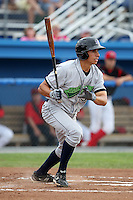 Jamestown Jammers outfielder Ryan Fisher (36) during a game vs. the Batavia Muckdogs at Dwyer Stadium in Batavia, New York July 17, 2010.   Batavia defeated Jamestown 6-1.  Photo By Mike Janes/Four Seam Images