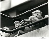 Le Maire Jean Drapeau et Joe Clark asssistent a la Coupe Grey<br /> , le  11 novembre 1979<br /> <br /> PHOTO : agence quebec presse