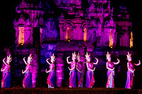 Wat Mahathat Temple, famous Thai dance and light show during the Loy Krathong festival in the Historical Park of Ayutthaya, Thailand, Southeast Asia