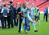 28th May 2018, Wembley Stadium, London, England;  EFL League 2 football, playoff final, Coventry City versus Exeter City; Jordon Thompson of Coventry City with a winners medal doing the Fortnite celebration