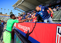 CARSON, CA - FEBRUARY 1: Sean Johnson #22 of the United States celebrating with fans during a game between Costa Rica and USMNT at Dignity Health Sports Park on February 1, 2020 in Carson, California.
