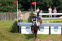 4th September 2021; Bicton Park, East Budleigh Salterton, Budleigh Salterton, United Kingdom: Bicton CCI 5* Equestrian Event; Angus Smales riding ESI Pheonix clears fence 14B,