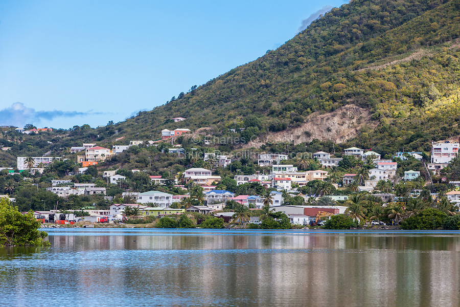 Philipsburg, Sint Maarten.  Houses Rising up the Hill across the Great Salt Pond.